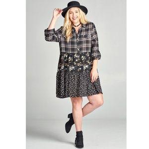 Plus Black Plaid Floral Swing Shirt Dress Tunic